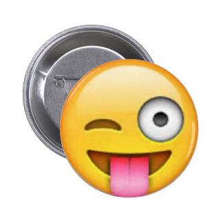 Pin de Emoji de la lengua Chapa Redonda De 5 Cm