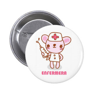 Pin de enfermera ratoncita chapa redonda de 5 cm