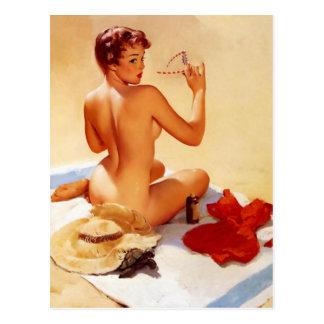 Pin de la belleza de la playa del vintage encima d tarjetas postales