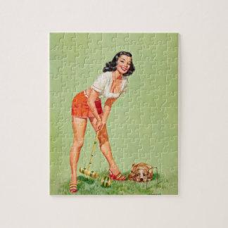 Pin del jugador del croquet encima del arte puzzle
