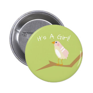 Pin elegante del favor del pájaro del rosa de la chapa redonda de 5 cm