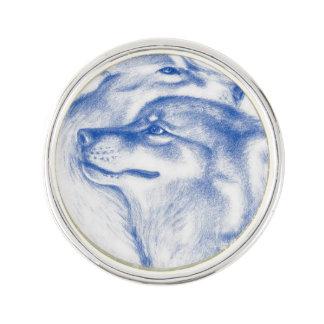 Pin Lobos alfa Snuggling azules