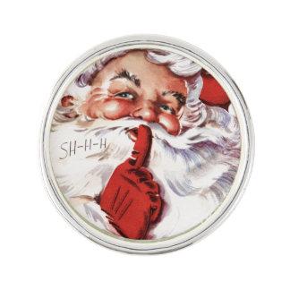 Pin Navidad alegre de Santa del vintage viejo Shhh