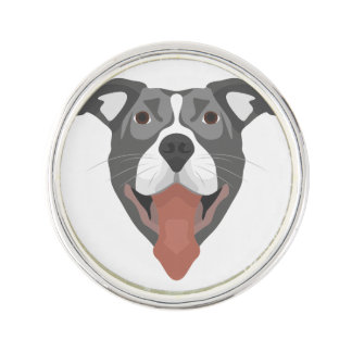 Pin Perro Pitbull sonriente del ilustracion