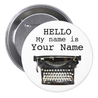 Pin personalizado etiqueta del nombre del escritor chapa redonda de 7 cm