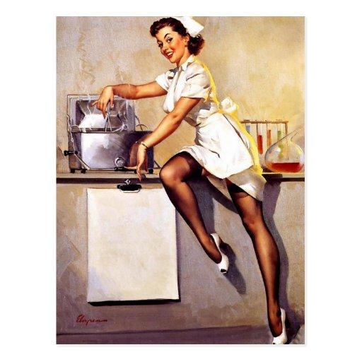 Pin retro de la enfermera de Gil Elvgren del vinta Tarjetas Postales