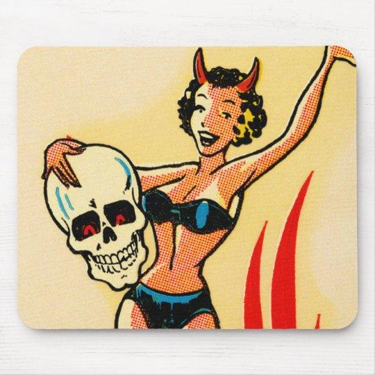 Pin retro del kitsch del vintage encima del chica  alfombrilla de ratón