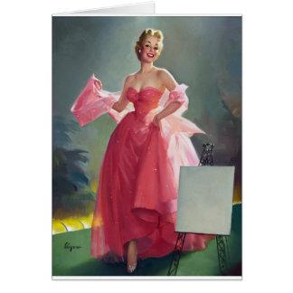 Pin rojo del vestido para arriba tarjeta de felicitación