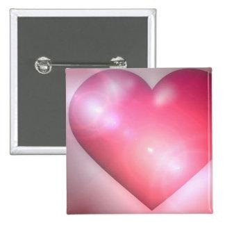 Pin rosado del cuadrado del diseño del corazón