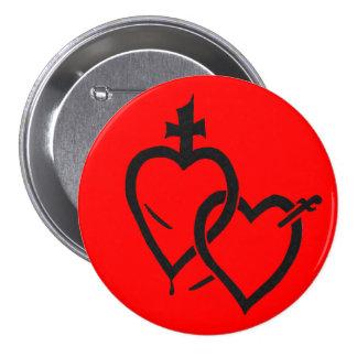 Pin sagrado y inmaculado de los corazones chapa redonda de 7 cm
