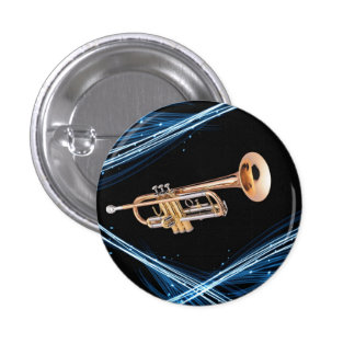 Pin trompeta chapa redonda de 2,5 cm