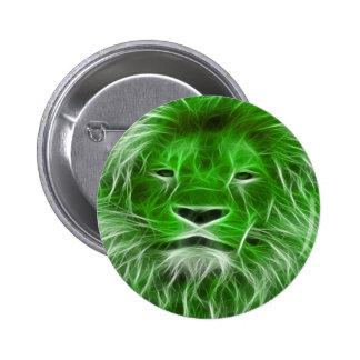Pin verde de la impresión de la cabeza del león en chapa redonda de 5 cm