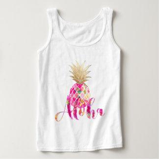 Piña de la hawaiana de PixDezines/falso oro Camiseta Con Tirantes