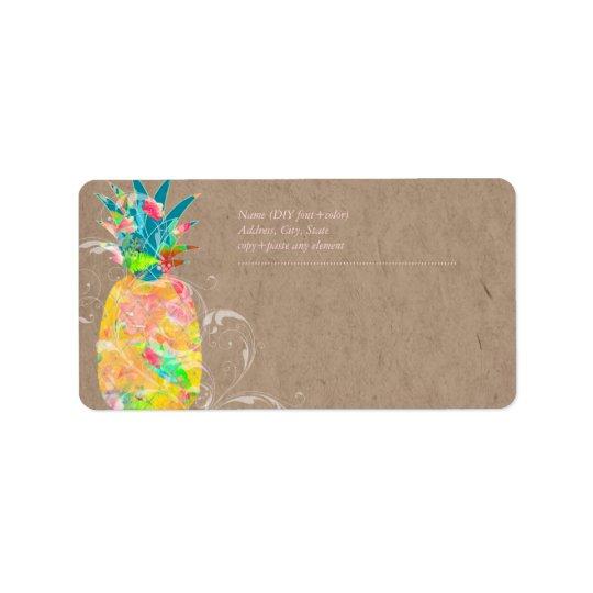 Piña de PixDezines+Acuarela floral Etiqueta De Dirección