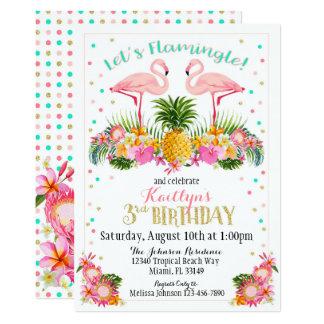 Piña del flamenco y cumpleaños floral tropical invitación 12,7 x 17,8 cm