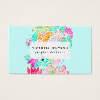 Piña tropical del flamenco de la acuarela del tarjeta de negocios