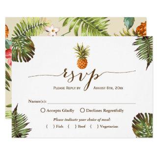 Piña tropical Luau hawaiano RSVP de las hojas Invitación 8,9 X 12,7 Cm