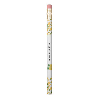 Piña tropical personalizada de nuevo a escuela lápiz