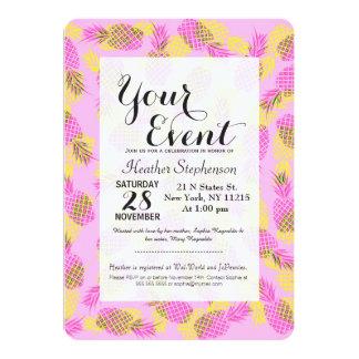 Piñas hawaianas tropicales amarillas y rosadas de invitación 12,7 x 17,8 cm