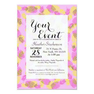 Piñas hawaianas tropicales amarillas y rosadas de invitación 8,9 x 12,7 cm