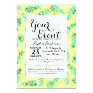 Piñas hawaianas tropicales amarillas y verdes de invitación 8,9 x 12,7 cm