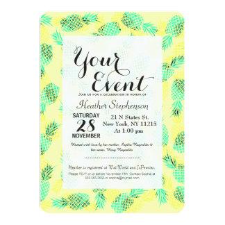 Piñas hawaianas tropicales amarillas y verdes de invitación 12,7 x 17,8 cm