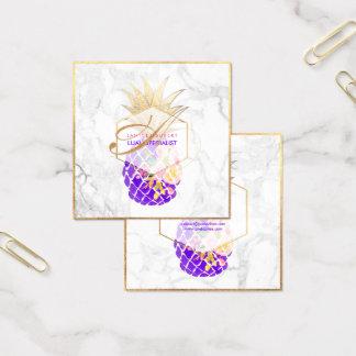 Piñas/oro/mármol de la hawaiana de PixDezines Tarjeta De Visita Cuadrada