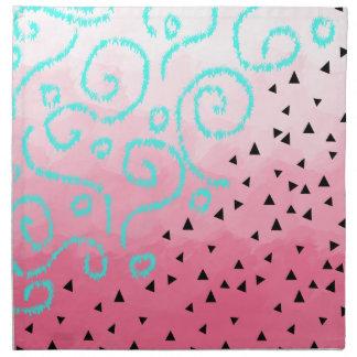 pincelada geométrica del rosa del modelo del negro servilleta de tela