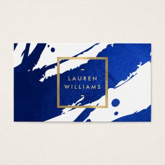 Pinceladas abstractas de los azules añiles tarjeta de visita