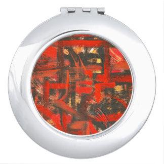 pinceladas abstractas pintadas rojomano rstica espejo de maquillaje
