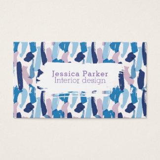 Pinceladas azules y púrpuras abstractas tarjeta de visita
