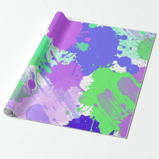 pinceladas de neón coloridas abstractas de moda papel de regalo