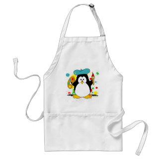Pingüino artístico delantal