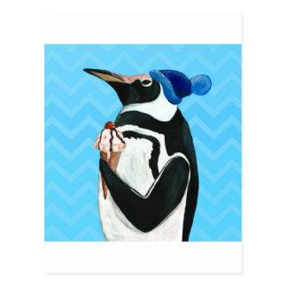 Pingüino auténtico postal