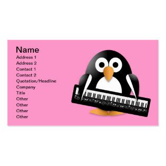 Pingüino con el teclado de piano tarjetas de visita
