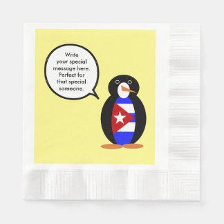 Pingüino cubano de la bandera que habla servilletas de papel