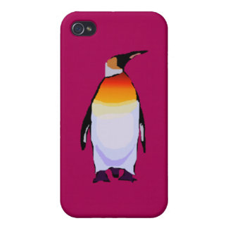 Pingüino de color rojo oscuro iPhone 4 funda