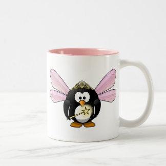 Pingüino de hadas taza de café de dos colores
