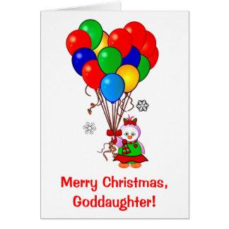 Pingüino de la ahijada de las Felices Navidad con Tarjeta De Felicitación
