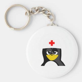 Pingüino de la enfermera llaveros