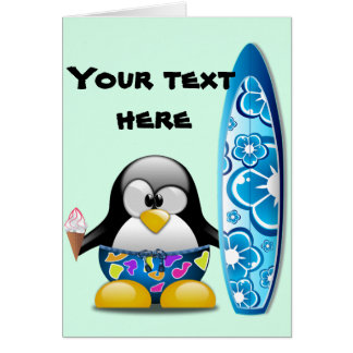 Pingüino de la persona que practica surf con tarjeta de felicitación