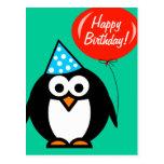 Pingüino de la postal el | del feliz cumpleaños co