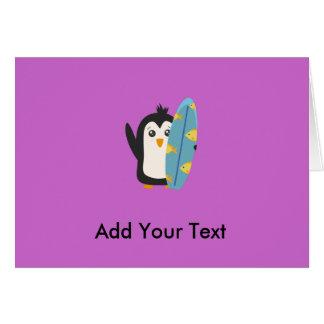 Pingüino de la tabla hawaiana tarjeta de felicitación