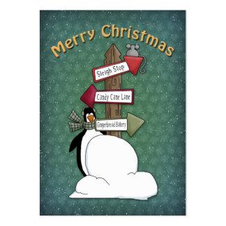 Pingüino de las Felices Navidad con la muestra Tarjetas De Visita Grandes