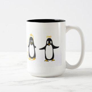 Pingüino de Yin Yang Taza De Café De Dos Colores