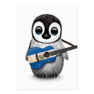 Pingüino del bebé que toca la guitarra de la tarjetas de visita grandes