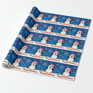 Pingüino del día de fiesta papel de regalo
