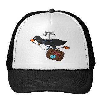 Pingüino del helicóptero del vuelo que viaja con gorros