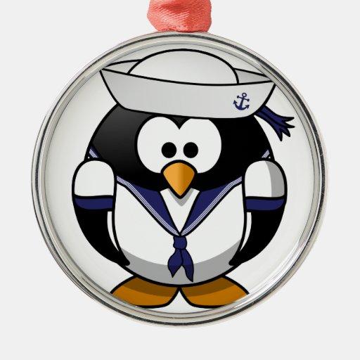 Pingüino del marinero ornamentos de navidad