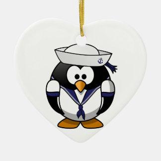 Pingüino del marinero ornamento para arbol de navidad